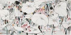 Japanese Drawings, Japanese Art, Chinese Plants, Wu Guanzhong, Lotus Painting, Lotus Art, Chinese Cartoon, China Art, Cool Paintings