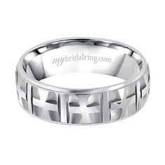 Customized Mens White Gold Wedding Bands and Cross Wedding Rings at #MyBridalRing #Wedding_Rings #Bands - http://www.mybridalring.com/Mens/cross-channel-14k-white-yellow-wedding-bands/