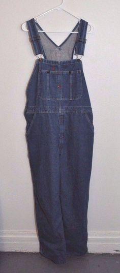 Mens DICKIES blue cotton denim carpenter jean bib overalls coveralls 34x30 Work #Dickies #Overalls