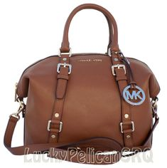 Michael Kors Bedford Medium Leather Satchel Purse Bag Handbag Brown 35H2GBFS2L #MichaelKors