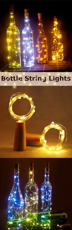 15 LEDs Wine Bottle String Lights Champagne Cork LED Light for Home Festival Party Decor is dazzling and catching eyes, string lights are necessary for holding party. Wine Bottle Art, Wine Bottle Crafts, Glass Bottle, Wine Glass, Christmas Crafts, Christmas Decorations, House Party Decorations, Christmas Yard, Yard Party