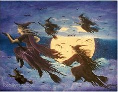 Folk Art Halloween WITCH PRINT Witches Flying HAGUILD by sunbyrum,