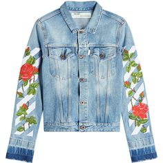 Off-White Printed Denim Jacket found on Polyvore featuring outerwear, jackets, denim, coats, blue, blue jackets, off white jacket, jean jacket, layered jacket and blue denim jacket