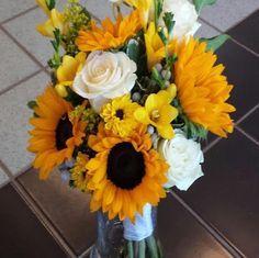 sunflower bridal bouquet #atlantaflowerbar #atlantaweddingflorist #atlantaflorist www.atlantaflowerbar.com Flower Bar, Cake Flowers, Floral Wreath, Reception, Bouquet, Wreaths, Bridal, Decor, Floral Crown