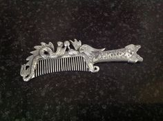 Chinese Handmade Tibet Miao Silver Comb. Two Phoenix Birds. Amulet Art. by fleursenfrance. Explore more products on http://fleursenfrance.etsy.com