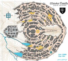 The orienteering map of Minis Tirith, fictional city and castle in The Lord of Rings.