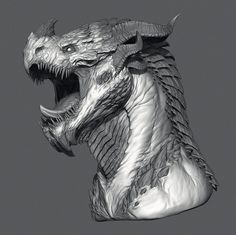 """I decided to show the result of the last two streams on """"Dragon Head"""" project on concept art by Johan Grenier. Dragon Head Drawing, Dragon Artwork, Fantasy Races, Fantasy Art, White Dragon, Creature Design, Animal Drawings, Cool Art, Concept Art"""