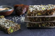 Raw fig bars with tahini, pistachios and orange zest