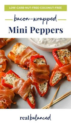 Try these Bacon-Wrapped Mini Peppers the next time you are looking for a quick snack or appetizer! This pepper recipe is nut-free, egg-free, coconut-free, gluten-free, grain-free, and contains no refined sugar. Prepped and baked in under an hour, they are the perfect blend of savory, creamy, and crunchy, and bursting with delicious flavor. #realbalancedblog #minipeppers #ketoappetizer Primal Recipes, Low Carb Recipes, Fun Recipes, Snacks Recipes, Bacon Recipes, Keto Snacks, Low Carb Appetizers, Appetizer Recipes, Veggie Skewers