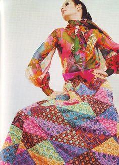 Yves Saint Laurent Patchwork Dress, 1969 #vintage #fashion #1960s #bohemian