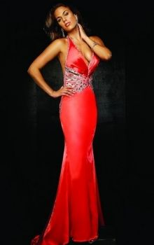 Red Mermaid/Trumpet Halter Natural Long/Floor-length Sleeveless Crystal Taffeta Sweep/Brush Train Backless Prom Dresses Dress