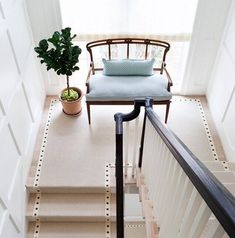 Sometimes the simple details make all the difference. Molding detail, runner, stair railing, bench, windows. Home design ideas, interior design inspiration.