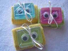 by a Soap add and glue eyes, roll a little towel and finish with a bow!:) Just too cute and perfect for a little boy or girl.