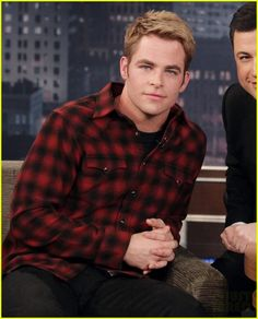 Chris Pine -- wonder if the lighter hair color coincides with Star Trek XII filming.