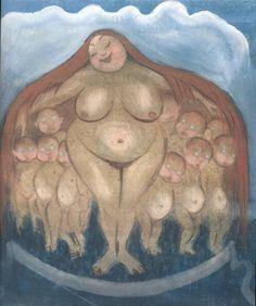 """Moderjord,"" (""Mother Earth"") by the Swedish painter Ivar Arosenius Sacred Feminine, Divine Feminine, Wicca, Eugene Jansson, Pagan Art, Supernatural Beings, Divine Mother, Images And Words, Historical Art"