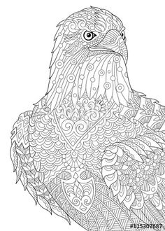 Vector: Zentangle stylized cartoon eagle of prey (hawk, falcon, osprey). Hand drawn sketch for adult antistress coloring book page, T-shirt emblem, logo, tattoo with doodle, zentangle, floral design elements.