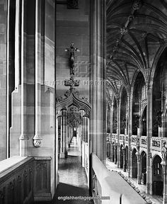 John Rylands Library - Interior view along one of the gallery corridors at clerestorey level. Photographed by Bedford Lemere in 1900.   English Heritage Print
