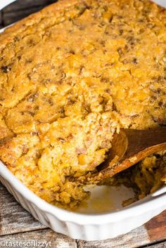 taco casserole in pan with a wooden spoon Corn Casserole, Easy Casserole Recipes, Easy Salad Recipes, Meat Recipes, Mexican Food Recipes, Crockpot Recipes, Cooking Recipes, Noodle Casserole, Chili Recipes