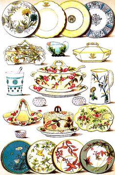 Dinner and Dessert China.    From: 1861 Mrs. Beeton's Book of Household Management.  via Google Books  (PD-150)      suzilove.com