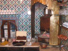 Tea kitchen - Pierre Loti cafe - Istanbul. The gorgeous #Turkish #tile on the wall!