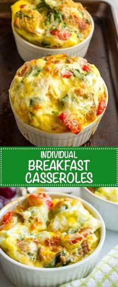 Individual breakfast casseroles with eggs, bread, veggies and cheese are made in ramekins and can be customized to suit everyone's tastes!