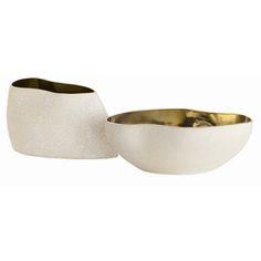 Vanessa Centerpieces Set Of 2  Contemporary, Metal, Porcelain, Bowl by Arteriors