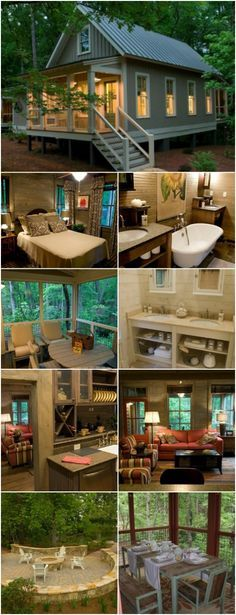 Camp Callaway Cottage is 1091 Sq. Ft. Pure Cozyness {Tiny House Tour 15 Photos+Video} - Are looking for a piece of paradise with a smaller footprint? Then you have to check out the Camp Callaway Cottage! This 1,091 square foot home is stunning! With two bedrooms, a full bathroom, living room, dining room, kitchen and two porches, it has everything you need to relax and enjoy life.