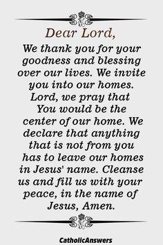 Powerful Prayer to Bless Your Home - Catholic Herald Jesus Prayer Verses, Prayer Quotes, Spiritual Quotes, Faith Quotes, Bible Quotes, Prayers For Strength, Prayers For Healing, Positive Vibes Quotes, Bedtime Prayer