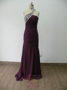 Handmade Custom Purple One shoulder Beaded Pleated Mermaid Chiffon Formal Long Prom Evening Party Bridesmaid Cocktail Homecoming Dress Gown