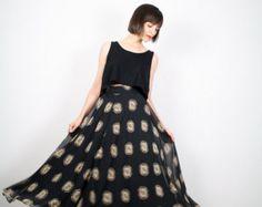 Vintage Midi Skirt Black Floral Print SHEER Chiffon Skirt 1980s 80s Maxi Skirt High Waisted Skirt Ballerina Ballet Skirt XS S Extra Small