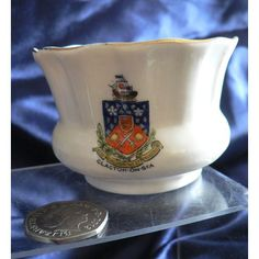 The Dainty Ware Crested China Trinket Pot - Clacton-On-Sea Crest
