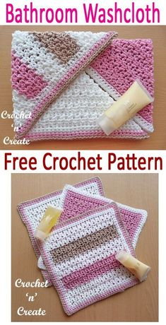 Crochet 3 of this free washcloth pattern and add a bar of soap to make a lovely gift. gifts Bathroom Washcloth Free Crochet Pattern - Crochet 'n' Create Basic Crochet Stitches, Crochet Basics, Crochet For Beginners, Crochet Patterns, Wash Cloth Crochet Pattern, Knitting Patterns, Crochet Gifts, Free Crochet, Knit Crochet