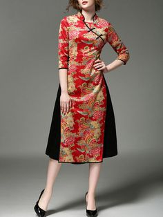 3 4 red dress h&m Batik Fashion, Red Fashion, Fashion Dresses, Model Dress Batik, Batik Dress, Midi Dress With Sleeves, Lace Dress, Unique Dresses, Beautiful Dresses