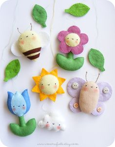 Spring mobile ornaments - pattern at imanufatti.etsy.com
