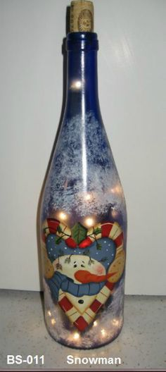 Click to Close Painted Glass Bottles, Recycled Glass Bottles, Glass Bottle Crafts, Lighted Wine Bottles, Painted Jars, Bottle Lights, Bottle Lamps, Wine Bottle Glasses, Wine Bottle Art