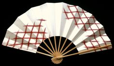 Japanese Dance Fan Mai Ogi Pearl White Red F199 Japanese Traditional Design Hand painted