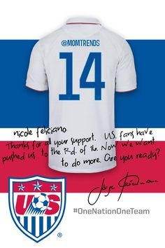 If you tweet @USSoccer #OneNationOneTeam you can get a custom jersey tweeted back. Score!