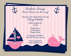 Pink Nautical Whale Baby Shower Invitations by TheInviteLadyShop, $7.50