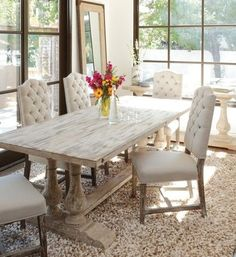Dining Room on ZinHome.Com. Looks just like Restoration Hardware but I like the wood grain in the table