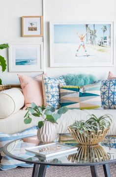 How cute are these fun + colorful textured throw pillows.