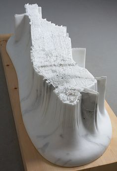 Yutaka Sone | Little Manhattan (2011) - 2.5 tons of marble carved into a precise model of Manhattan