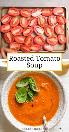 Tomato Soup Recipes, Roasted Tomato Soup, Health Soup Recipes, Dairy Free Tomato Soup, Vegan Tomato Soup, Roasted Tomatoes, Plats Healthy, Health Dinner, Think Food