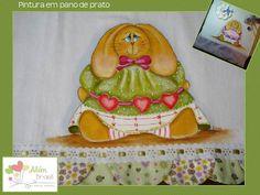 Pano de prato - pintado à mão - coelhinha - Além Brasil
