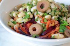 Tricolor Pasta with Herbed Pesto & White Beans #recipe