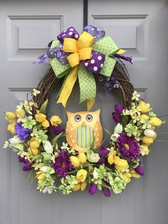 Owl Spring Floral Grapevine Wreath by BeautifulMesh on Etsy