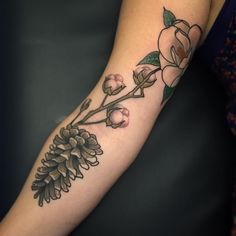 Tribute to NC with the long lead pine cone, cotton blossoms, and magnolia by Tyler Pennington, Kernersville, NC Pine Tattoo, Cotton Blossom, Blossom Tattoo, Pine Cones, Magnolia, Body Art, Tattoos, Blossoms, Instagram Posts
