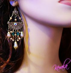 Can never go wrong with chandelier earrings<3