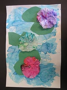 Coffee filter lily Maybe start by mixing blue and yellow for a big green paper to make lilly pads, and mixing blue and white for the background paper.  Add frogs!