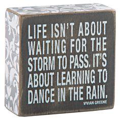"Dance in Rain Box Sign, Green, 4"" - Gordmans"