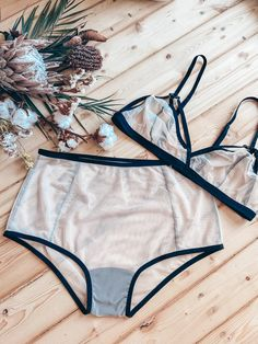 SUSAN white and BLACK sheer lingerie set by LALcouture. High quality womens lingerie and underwear. High waisted ivory panties see through lingerie plus size underwear / lingerie set. Made to measure lingerie. Plus sizes available. Bust: wearing a non padded bra in the widest part. Underbust: measure it taking a breath. Waist: in the narrowest part. Hips: in the widest part of your butt